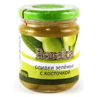 Green olives, jar, glass 100 gr